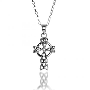 Celtic Cross & Trinity Sterling Silver Pendant Necklace