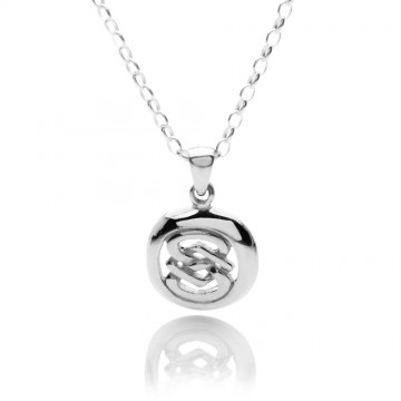 Celtic Oval Figure of Eight Knot Sterling Silver Pendant Necklace