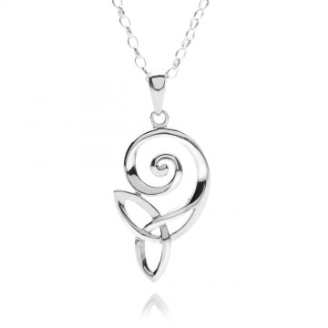 Celtic Spiral & Knot Sterling Silver Pendant Necklace