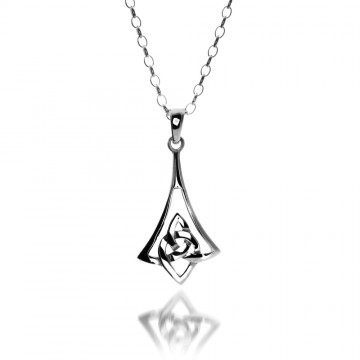 Celtic Trinity Bell Sterling Silver Pendant Necklace