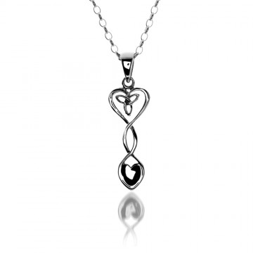 Celtic Welsh Heart Love Spoon Sterling Silver Pendant Necklace
