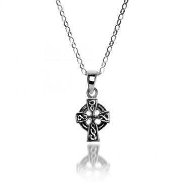 Celtic Cross Head Sterling Silver Pendant Necklace