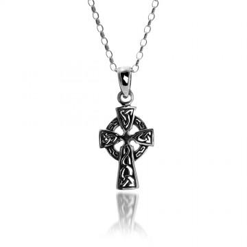Celtic Cross Trinity Sterling Silver Pendant Necklace