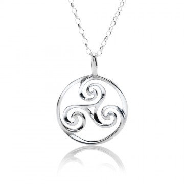 Triskele Round Sterling Silver Pendant Necklace