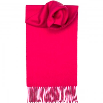 Bright Pink Plain Coloured Tartan 100% Lambswool Scarf by Lochcarron
