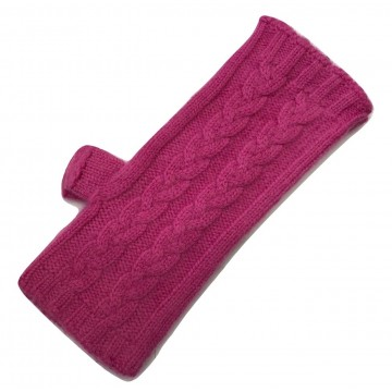 The Scarf Company Pink 3 Ply Cable Knit Cashmere Ladies Fingerless Mitts/Gloves