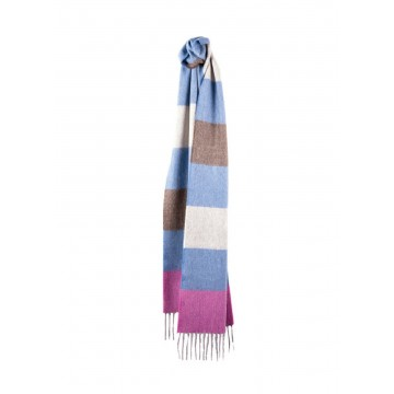 Sinclair Duncan Pink Horizontal Stripe 100% Woven Cashmere Scarf