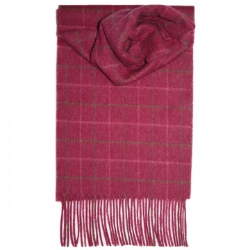 Pink Windowpane Tartan 100% Cashmere Scarf by Lochcarron of Scotland