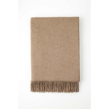 Johnston's of Elgin Plain Cashmere Throw - Brown