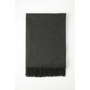 Johnston's of Elgin Plain Cashmere Throw - Dark Grey