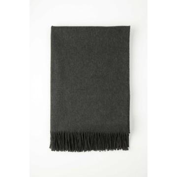 Johnston's of Elgin Plain Cashmere Throw - Dark Grey