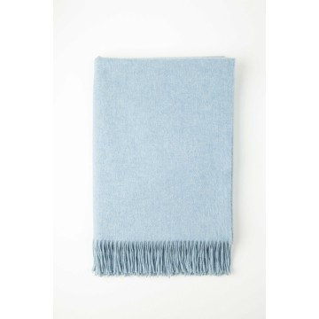 Johnston's of Elgin Plain Cashmere Throw - Vintage Blue