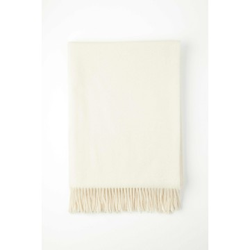 Johnston's of Elgin Plain Cashmere Throw - White