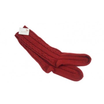 Protea Red 100% Cashmere 3 Ply Cable Ladies Bed Socks from the Scarf Company