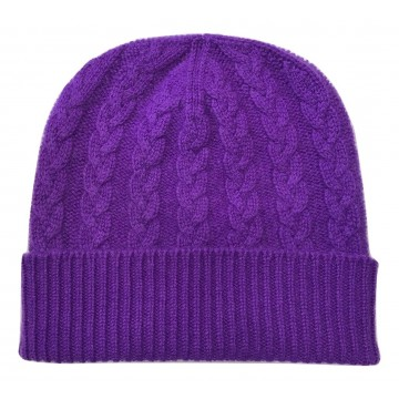 The Scarf Company Purple Cashmere 3ply Cable Knit Beanie Hat