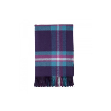 Johnston's of Elgin 'QEST' Serene Check Throw - Purple
