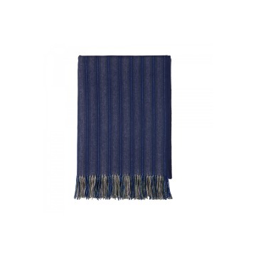 Johnston's of Elgin 'QEST' Slender Stripe Throw - Blue