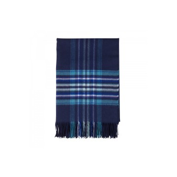 Johnston's of Elgin 'QEST' Stripe Border Throw - Blue