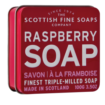 Raspberry Scottish Fine Soap in a Tin - 100g Triple Milled