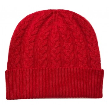 The Scarf Company Red Cashmere 3ply Cable Knit Beanie Hat
