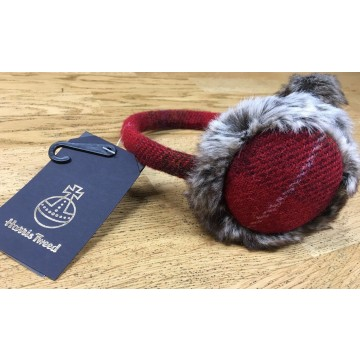 Failsworth Harris Tweed Earmuffs - Red Tartan Check