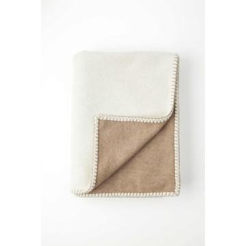 Johnston's of Elgin Wool Blend Reversible Throw - Cream
