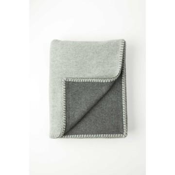 Johnston's of Elgin Wool Blend Reversible Throw - Dark Grey