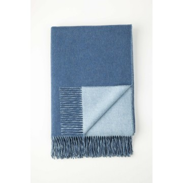 Johnston's of Elgin Cashmere Reversible Throw - Blue