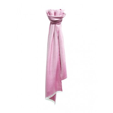 Sinclair Duncan Bright Pink Plain Herringbone Lightweight Cashmere and Silk Scarf