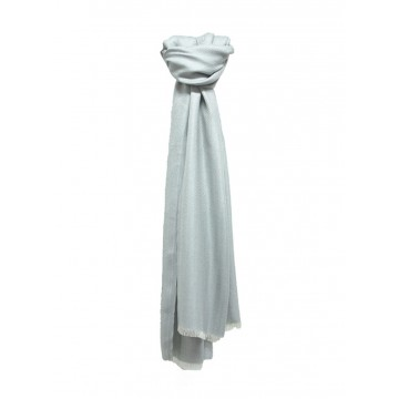 Sinclair Duncan Silver Plain Herringbone Lightweight Cashmere and Silk Scarf