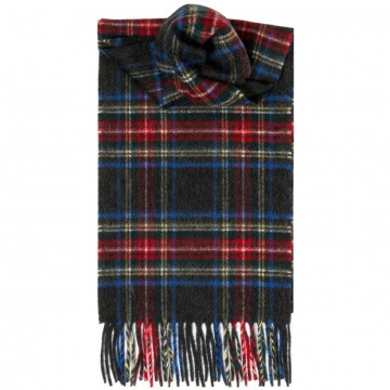 Stewart Black Tartan 100% Cashmere Scarf by Lochcarron of Scotland