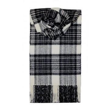 Stewart Dress Grey Tartan 100% Lambswool Scarf by Lochcarron