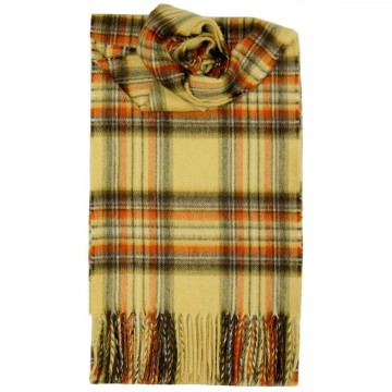 Luxury Cashmere Scarf - Stewart Honey Tartan