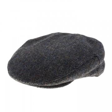 Failsworth Stornoway Harris Tweed Flat Cap - Blue/Green Herringbone