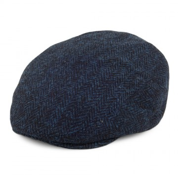 Failsworth Stornoway Flat Cap in Blue Herringbone 3302 Harris Tweed