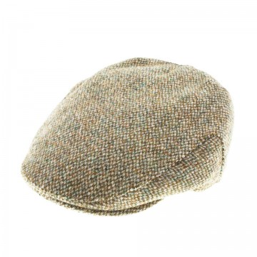 Failsworth Stornoway Flat Cap in Green & Beige 3397 Herringbone Harris Tweed