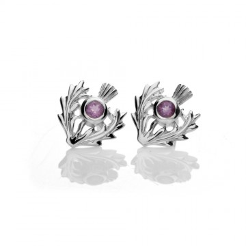 Scottish Thistle Amethyst Silver Stud Earrings