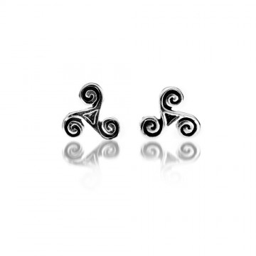 Small triskele Silver Stud Earrings