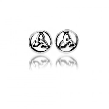 Round Celtic Trinity Knot Silver Stud Earrings