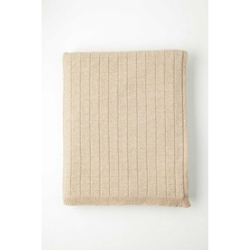 Johnston's of Elgin Cashmere Grid Throw - Natural
