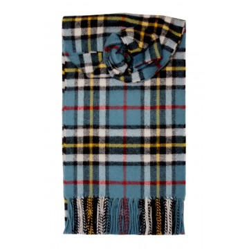 Thompson Blue Tartan 100% Lambswool Scarf by Lochcarron
