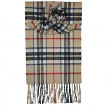 Thomson Camel Tartan 100% Cashmere Scarf by Lochcarron of Scotland