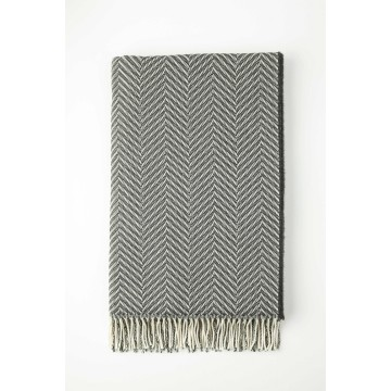 Johnston's of Elgin Merino Two Tone Throw - Charcoal