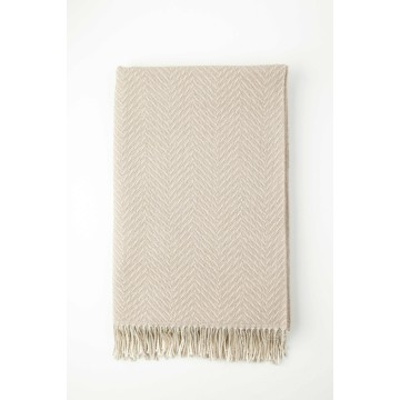 Johnston's of Elgin Merino Two Tone Throw - Taupe