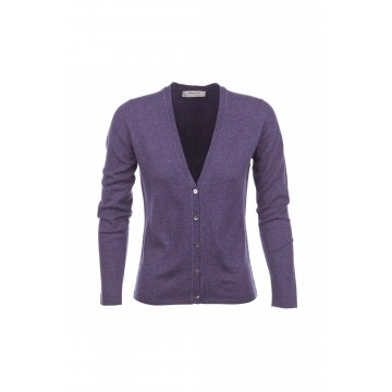 Cashmere Classic V-Neck Cardigan - Blackberry
