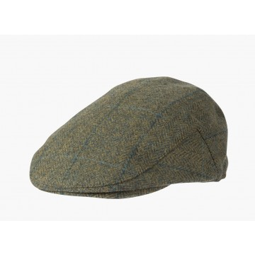 Failsworth Waterproof Flat Cap - Green Herringbone Check