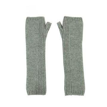 Cashmere Long Purl Stitch Wristwarmers - Grey