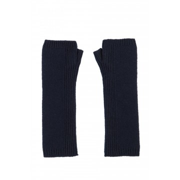 Cashmere Long Purl Stitch Wristwarmers - Navy