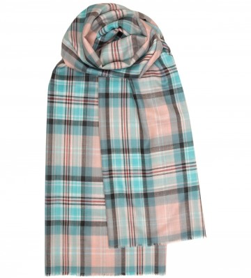 Lochcarron Princess Diana Blue Memorial Tartan Lambswool Serape - Made in Scotland