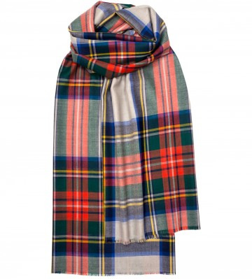 Extra Fine Merino Stole - Dress Stewart Grey - Lochcarron of Scotland